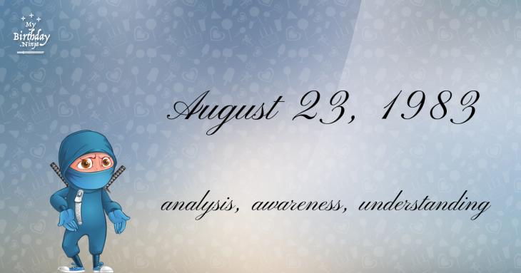 August 23, 1983 Birthday Ninja