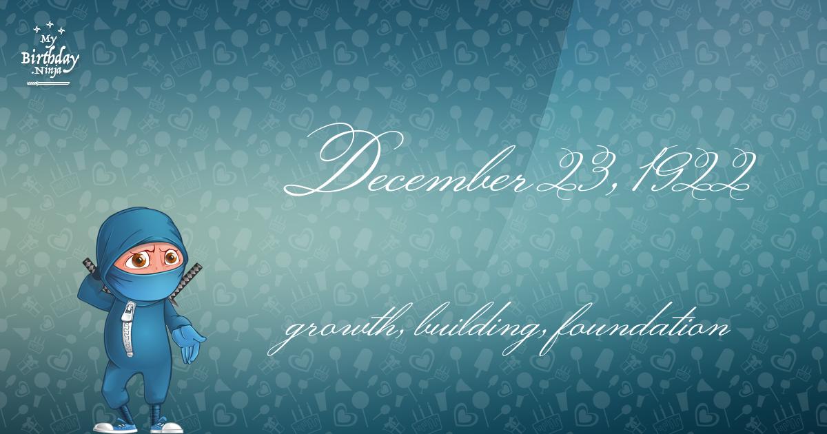 December 23, 1922 Birthday Ninja Poster