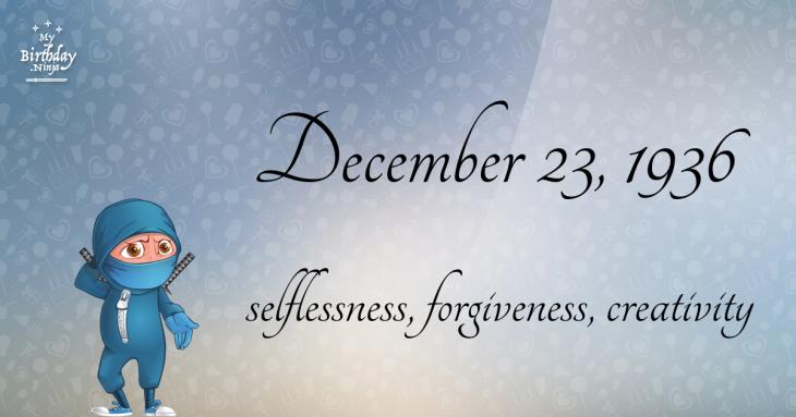 December 23, 1936 Birthday Ninja