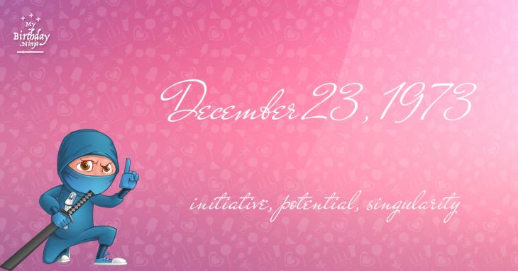 December 23, 1973 Birthday Ninja