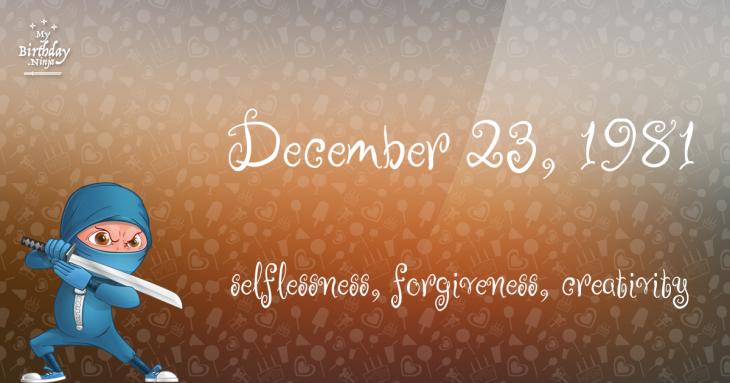 December 23, 1981 Birthday Ninja