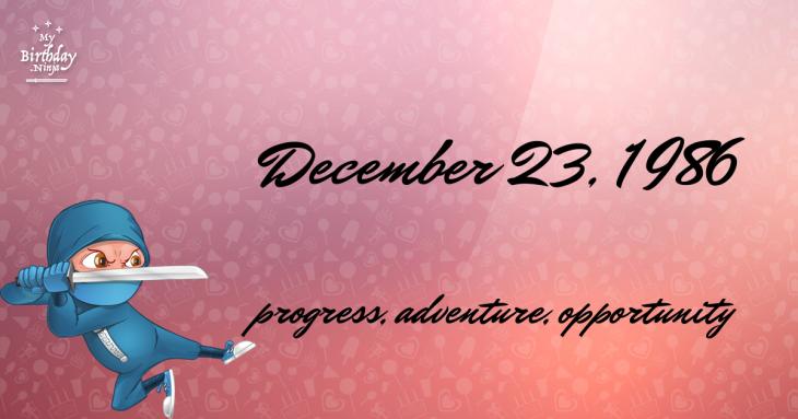 December 23, 1986 Birthday Ninja