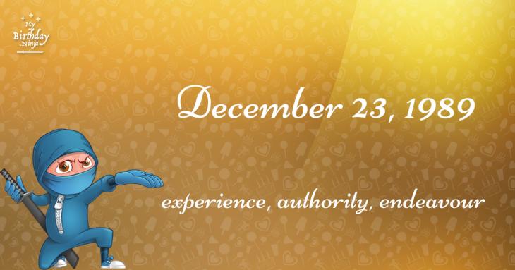 December 23, 1989 Birthday Ninja