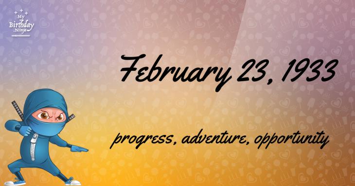 February 23, 1933 Birthday Ninja