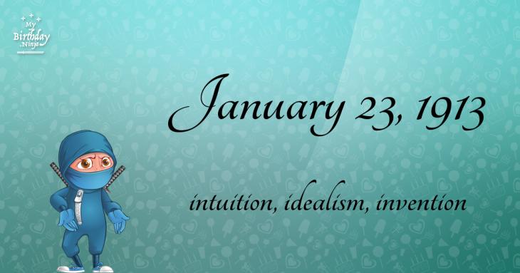 January 23, 1913 Birthday Ninja