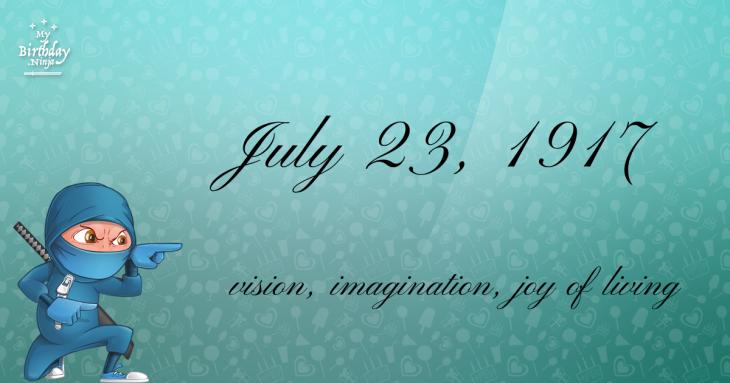 July 23, 1917 Birthday Ninja