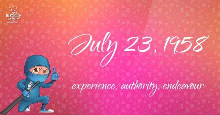 July 23, 1958 Birthday Ninja