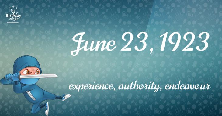 June 23, 1923 Birthday Ninja