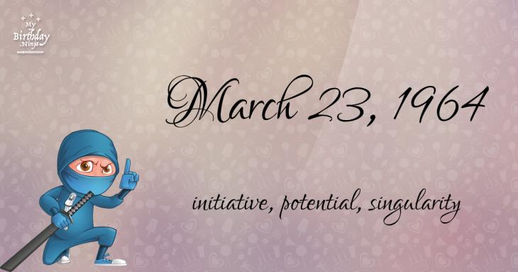 March 23, 1964 Birthday Ninja