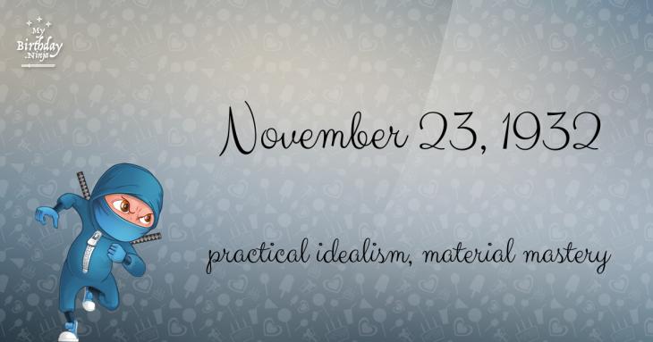 November 23, 1932 Birthday Ninja