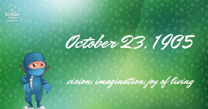 October 23, 1905 Birthday Ninja