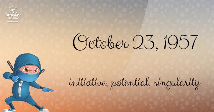 October 23, 1957 Birthday Ninja
