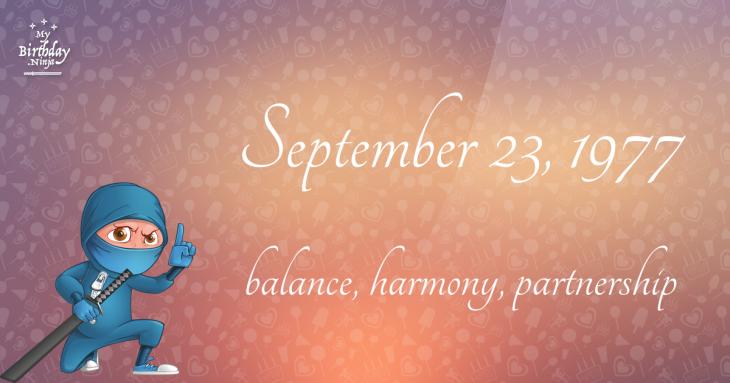 September 23, 1977 Birthday Ninja