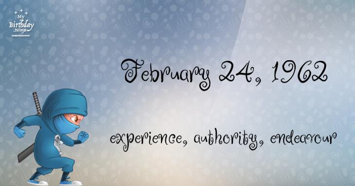 February 24, 1962 Birthday Ninja