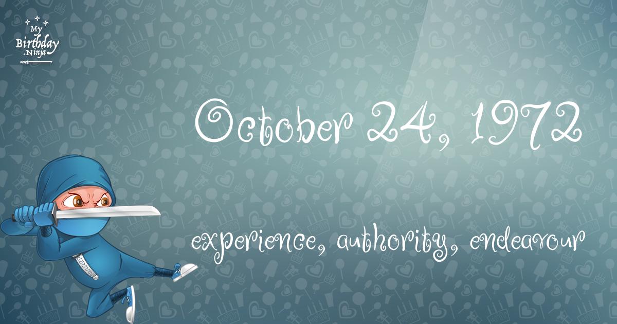 October 24, 1972 Birthday Ninja Poster