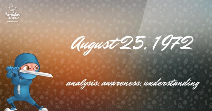 August 25, 1972 Birthday Ninja