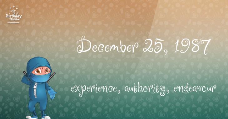 December 25, 1987 Birthday Ninja