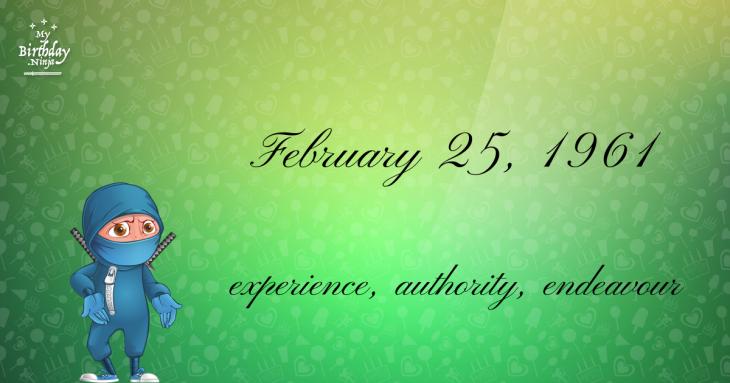 February 25, 1961 Birthday Ninja