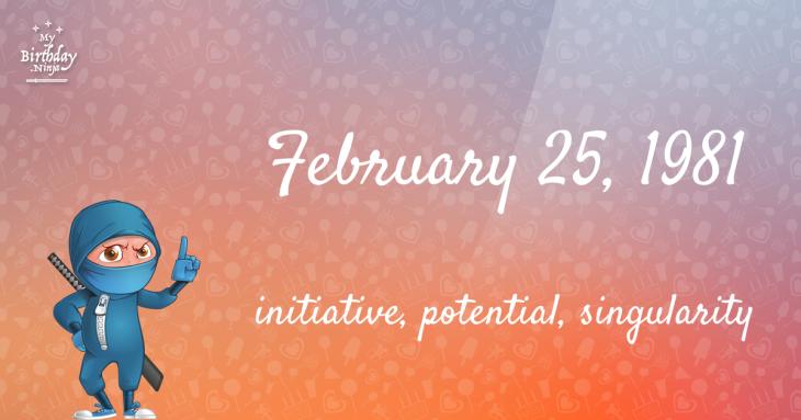 February 25, 1981 Birthday Ninja
