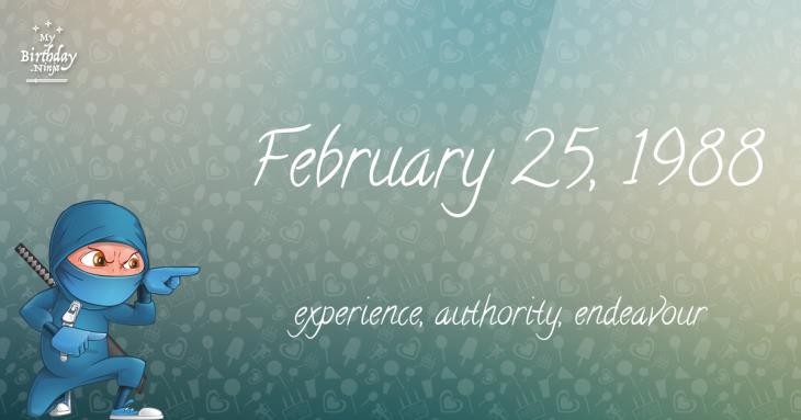 February 25, 1988 Birthday Ninja