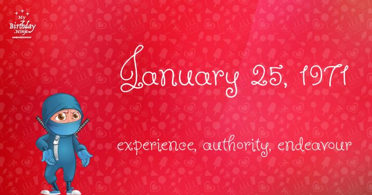 January 25, 1971 Birthday Ninja