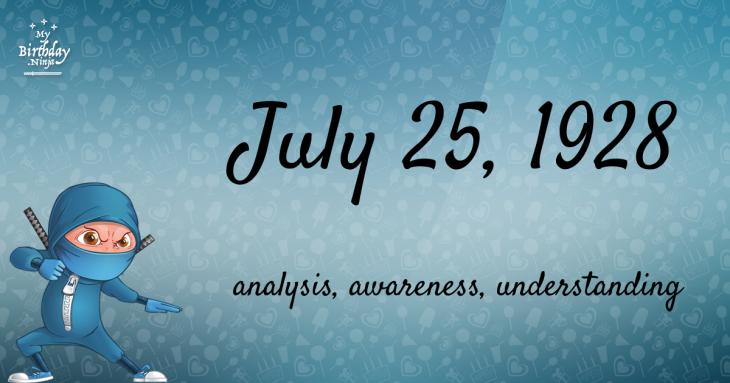 July 25, 1928 Birthday Ninja