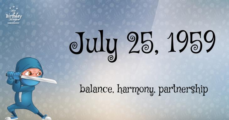 July 25, 1959 Birthday Ninja