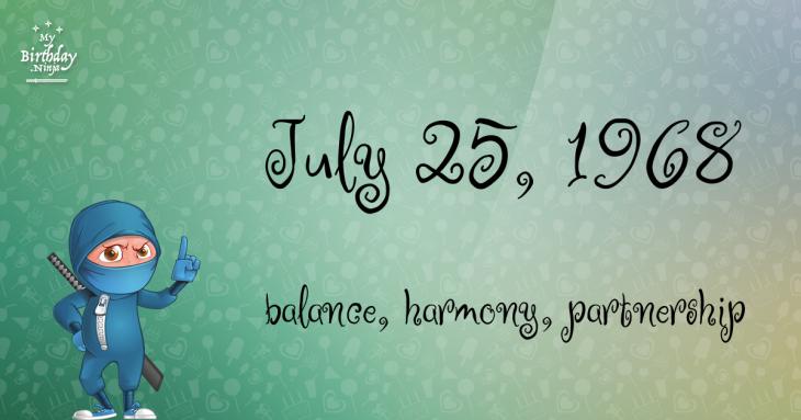 July 25, 1968 Birthday Ninja