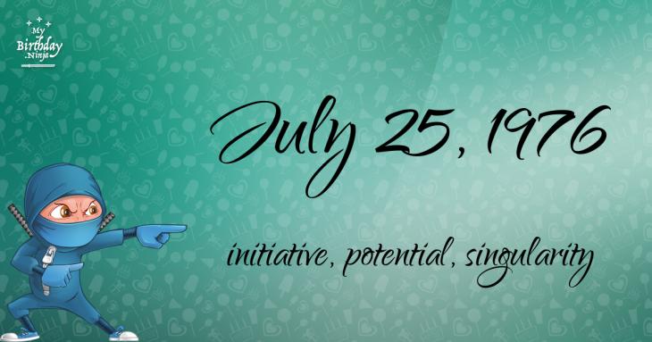 July 25, 1976 Birthday Ninja