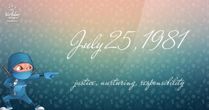 July 25, 1981 Birthday Ninja