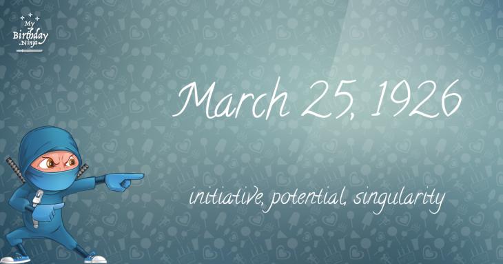 March 25, 1926 Birthday Ninja