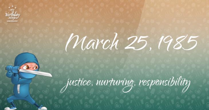 March 25, 1985 Birthday Ninja