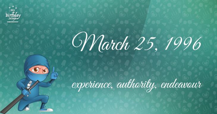 March 25, 1996 Birthday Ninja