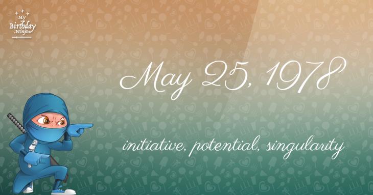 May 25, 1978 Birthday Ninja