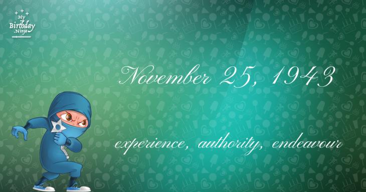 November 25, 1943 Birthday Ninja