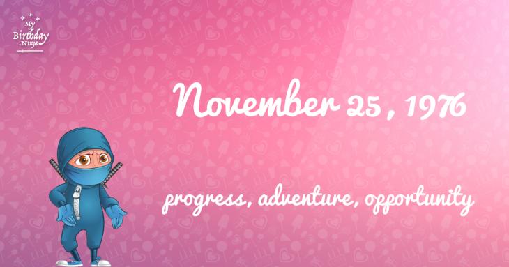 November 25, 1976 Birthday Ninja