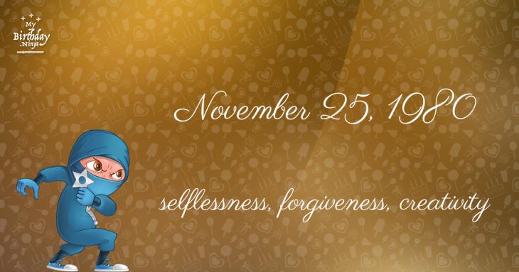 November 25, 1980 Birthday Ninja
