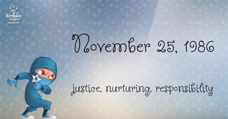 November 25, 1986 Birthday Ninja