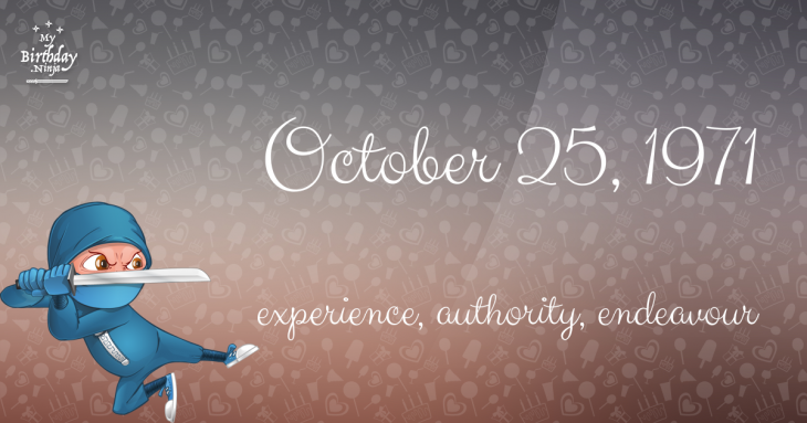 October 25, 1971 Birthday Ninja