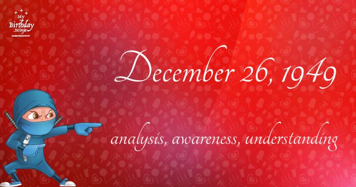 December 26, 1949 Birthday Ninja