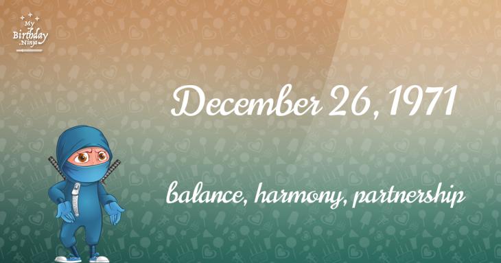 December 26, 1971 Birthday Ninja