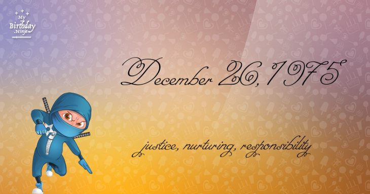 December 26, 1975 Birthday Ninja
