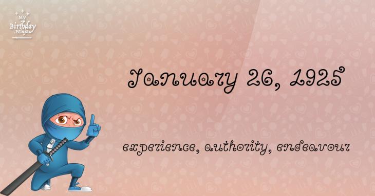 January 26, 1925 Birthday Ninja