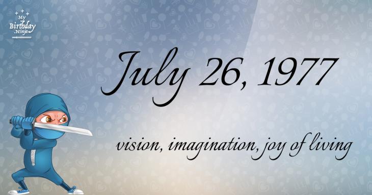 July 26, 1977 Birthday Ninja