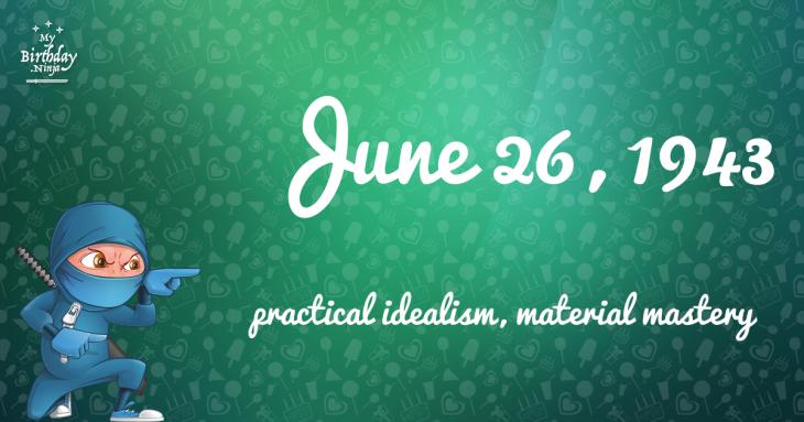 June 26, 1943 Birthday Ninja