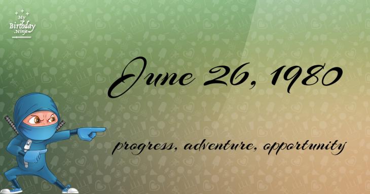 June 26, 1980 Birthday Ninja