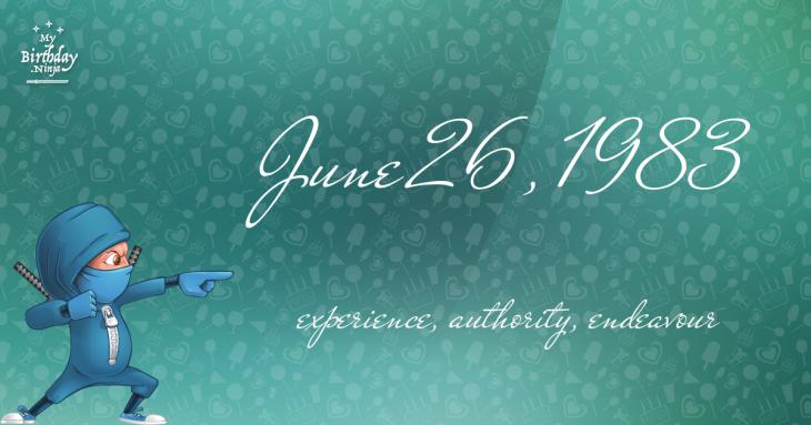 June 26, 1983 Birthday Ninja