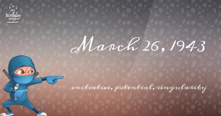 March 26, 1943 Birthday Ninja