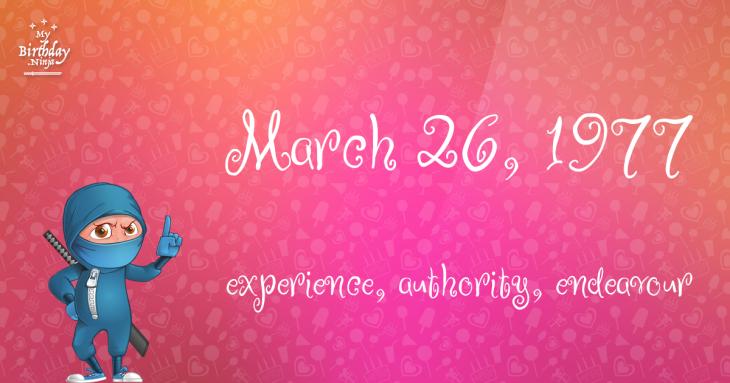 March 26, 1977 Birthday Ninja
