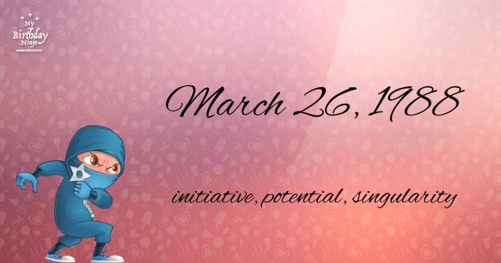 March 26, 1988 Birthday Ninja